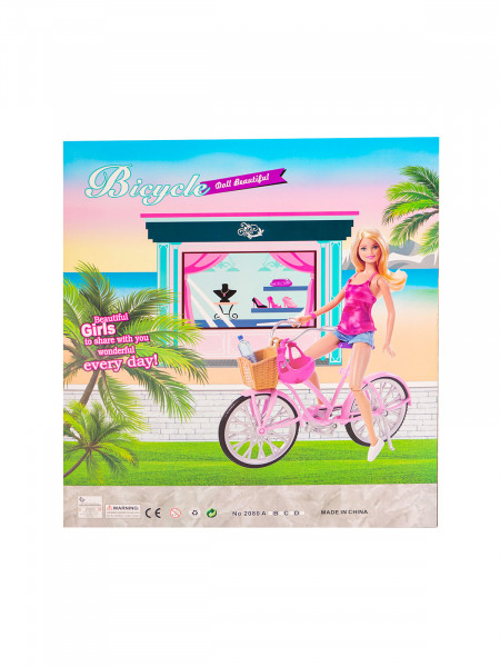 HTA-1162 Игровой набор  «Кукла на велосипеде» Цвет: розовый