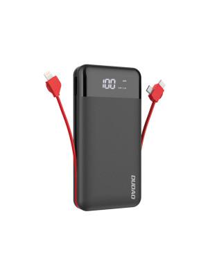 Внешний аккумулятор Dudao K1Pro встроенный зарядный кабель 3в1, черный