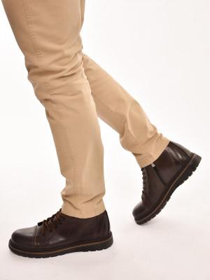 820МТ Ботинки мужские, коричневые, натуральная кожа, натуральный мех