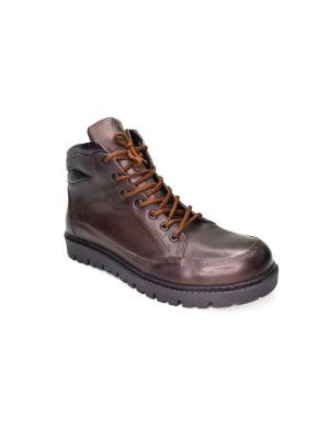 830МТ Ботинки мужские, коричневые, натуральная кожа, натуральный мех