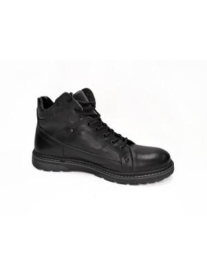 831ТМ Ботинки мужские,черные,натуральная кожа, натуральный мех