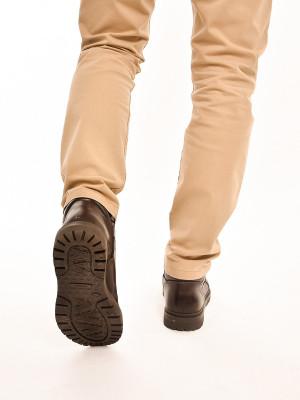 835МТ Ботинки мужские, коричневые, натуральная кожа, натуральный мех
