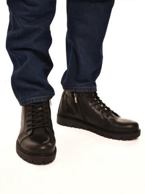 Н822МТ Ботинки мужские, черные, натуральная кожа, натуральный мех