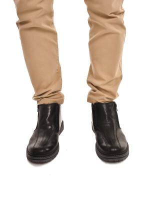 ТР55МТ Ботинки мужские, черные, натуральная кожа, натуральный мех