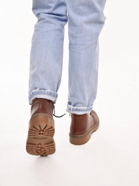 837МТ Ботинки женские, моро, натуральная кожа, натуральный мех