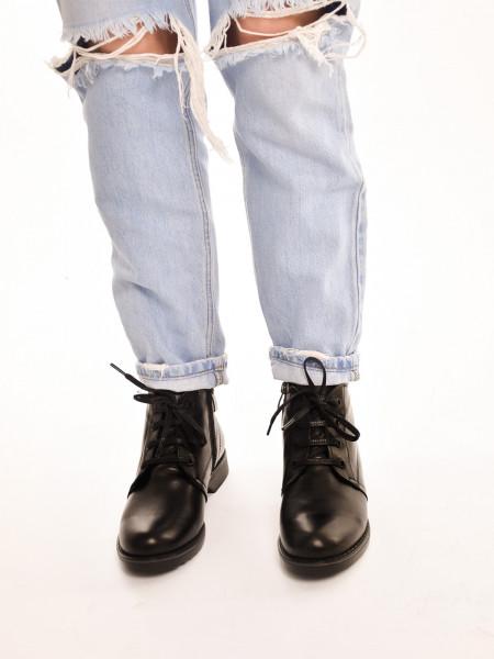 ЛБ201МТ Ботинки женские,черные, натуральная кожа, натуральный мех