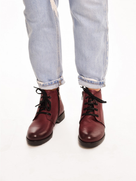 ЛБ201МТ Ботинки женские,бордовые, натуральная кожа, натуральный мех
