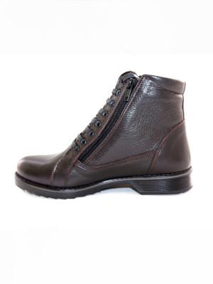 ЛБ202МТ Ботинки женские, коричневые, натуральная кожа, натуральный мех